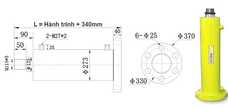 Bản-vẽ-kích-thước-của-xi-lanh-100-tấn-Hulomech-mặt-bích-sau