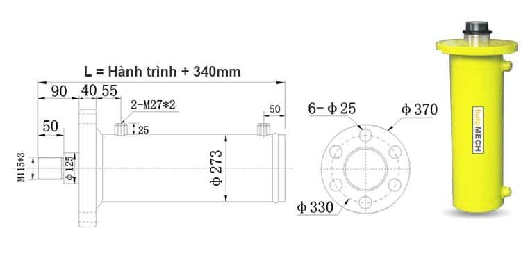 Bản-vẽ-kích-thước-của-xi-lanh-100-tấn-Hulomech-mặt-bích-trước