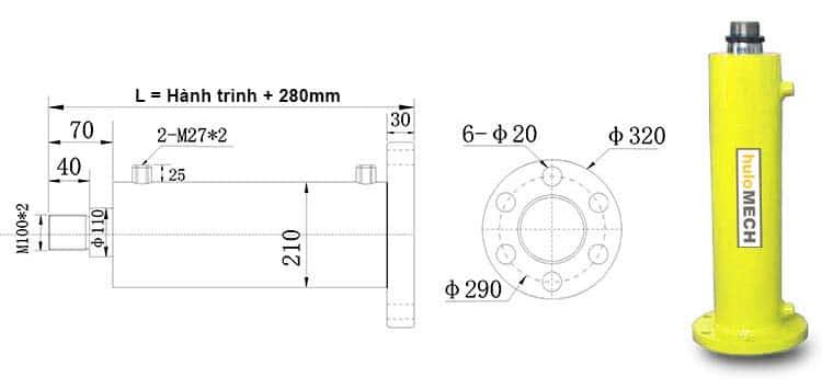 Bản-vẽ-kích-thước-của-xi-lanh-60-tấn-Hulomech-mặt-bích-sau