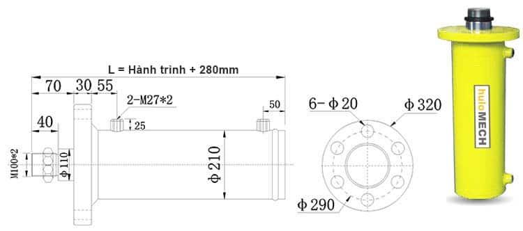 Bản-vẽ-kích-thước-của-xi-lanh-60-tấn-Hulomech-mặt-bích-trước