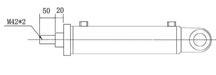 Bản vẽ kích thước đầu piston xi lanh thủy lực 12 tấn hai chiều có hai đầu kết nối rời