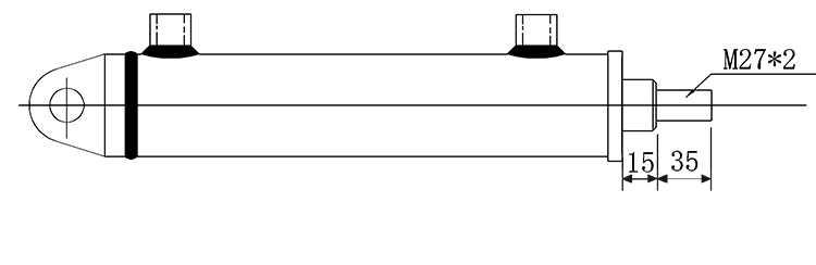 Bản vẽ kích thước đầu piston xi lanh thủy lực 5 tấn hai chiều có hai đầu kết nối