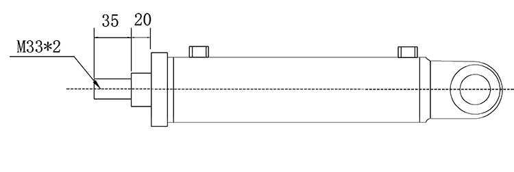 Bản vẽ kích thước đầu piston xi lanh thủy lực 8 tấn có hai đầu kết nối rời