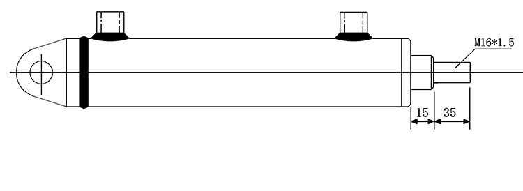 Bản vẽ kích thước đầu ti của xi lanh thủy lực 2 tấn có 2 đầu kết nối