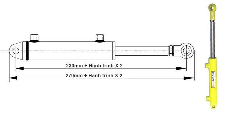 Bản vẽ kích thước khi đi hết hành trình của xi lanh thủy lực 2 tấn có 2 đầu kết nối