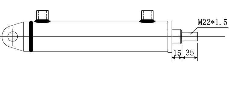 Bản vẽ kích thước piston xi lanh thủy lực 3 tấn hai chiều có hai đầu kết nối