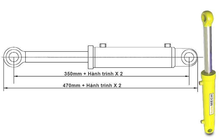 Bản vẽ kích thước xi lanh thủy lực 12 tấn hai chiều có hai đầu kết nối liền khi đi hết hành trình