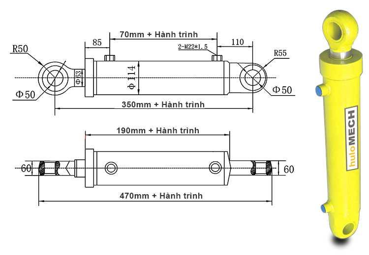 Bản vẽ kích thước xi lanh thủy lực 12 tấn hai chiều có hai đầu kết nối liền