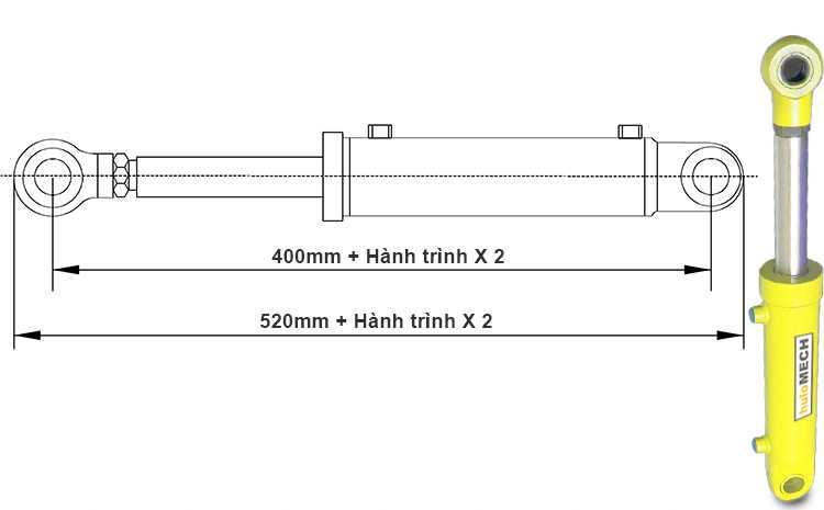 Bản vẽ kích thước xi lanh thủy lực 12 tấn hai chiều có hai đầu kết nối rời khi đi hết hành trình
