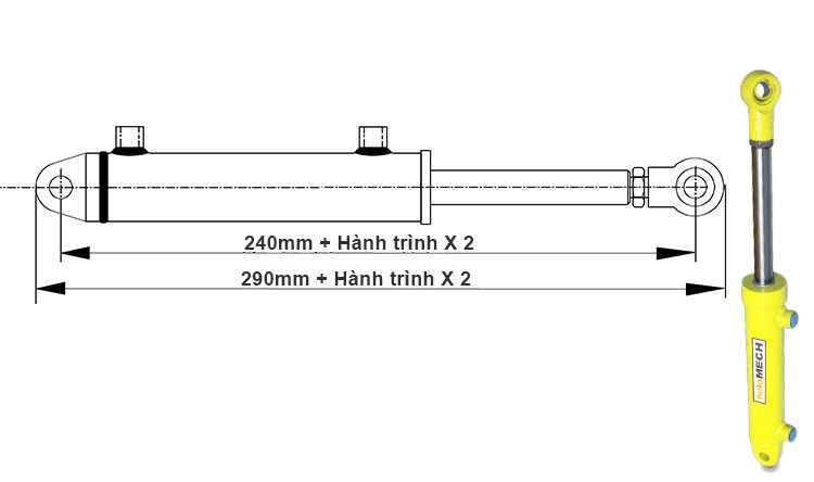 Bản vẽ kích thước xi lanh thủy lực 3 tấn hai chiều có hai đầu kết nối khi đi hết hành trình