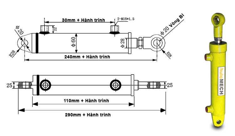 Bản vẽ kích thước xi lanh thủy lực 3 tấn hai chiều có hai đầu kết nối