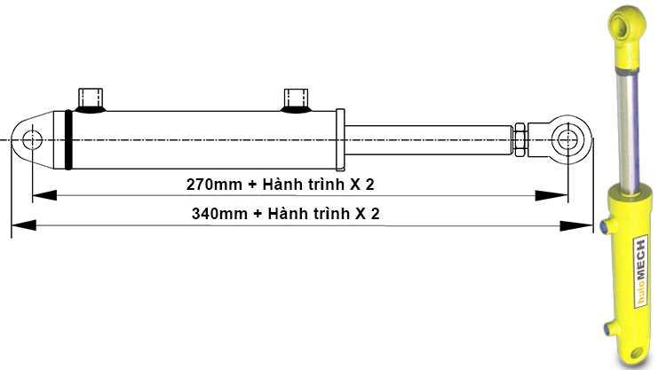 Bản vẽ kích thước xi lanh thủy lực 5 tấn hai chiều có hai đầu kết nối khi đi hết hành trình