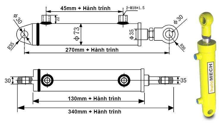 Bản vẽ kích thước xi lanh thủy lực 5 tấn hai chiều có hai đầu kết nối