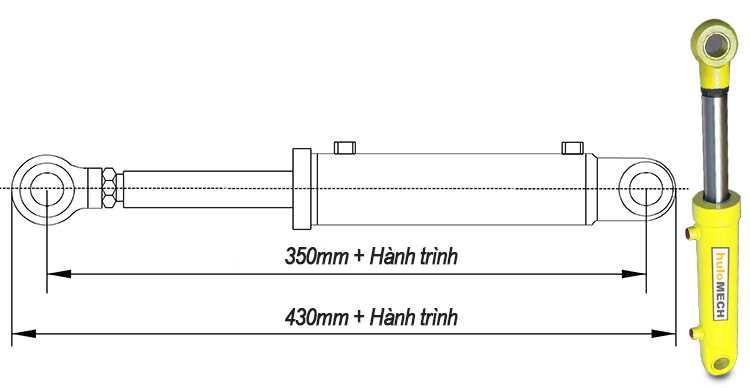 Bản vẽ xi lanh thủy lực 8 tấn có hai đầu kết nối rời khi đi hết hành trình
