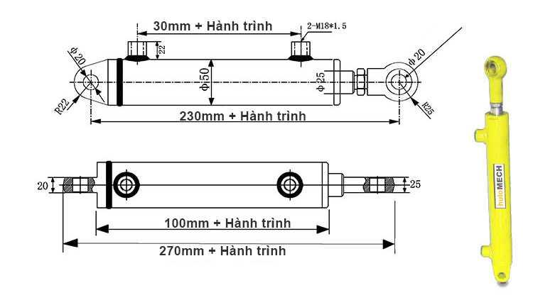 Bản vẽ kích thước của xi lanh thủy lực 2 tấn hai chiều có hai đầu kết nối